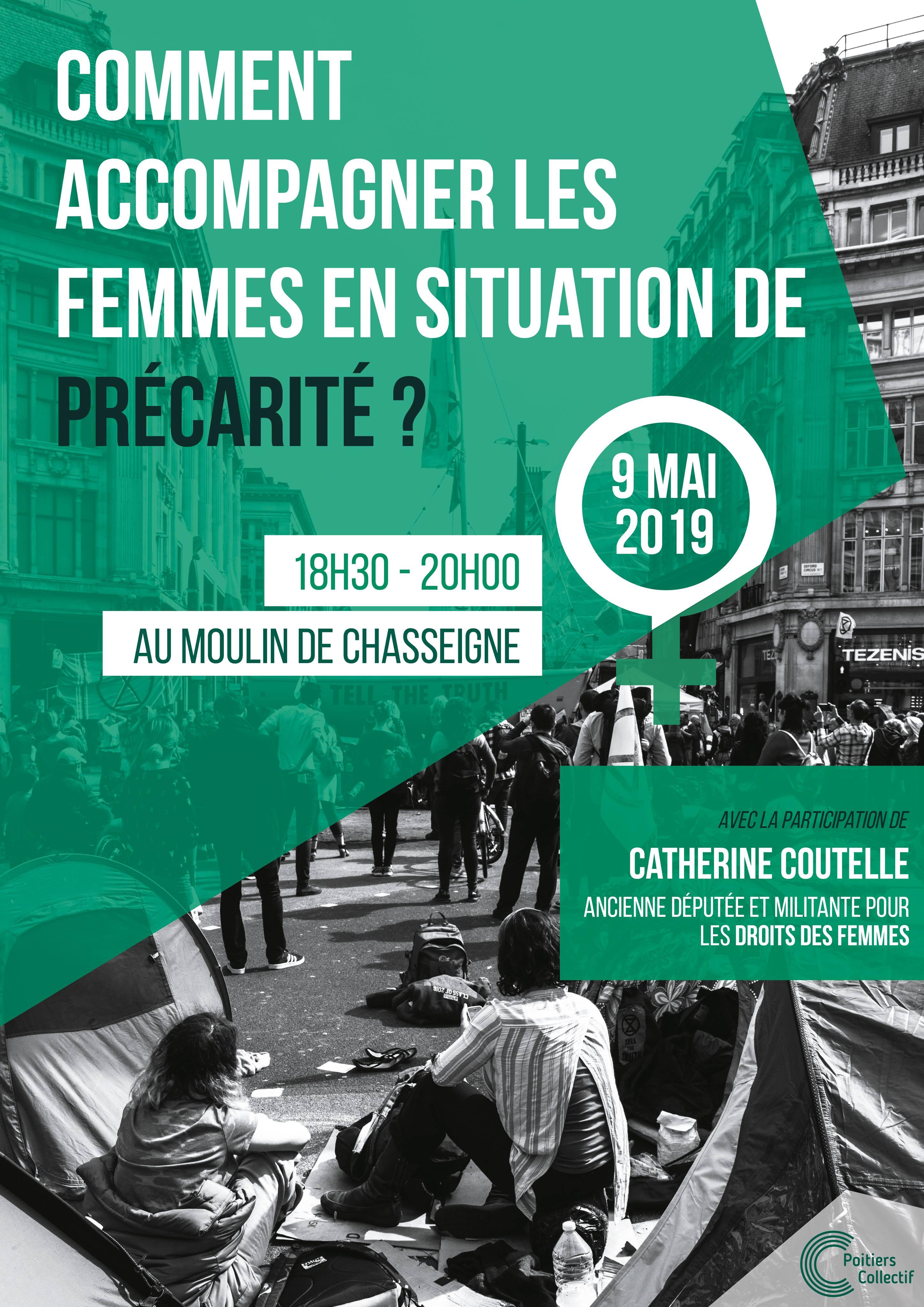 Affiche événement femmes et précarité 9 mai 2019