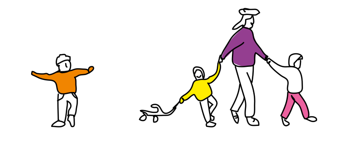 dessin d'une famille en balade